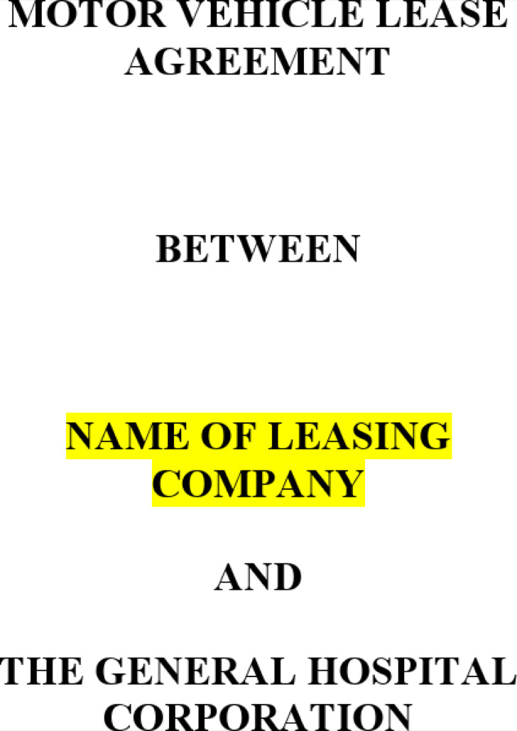 Vehicle Leasing Agreement Template