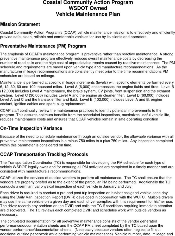 Vehicle Maintenance Plan Schedule Template Pdf Format