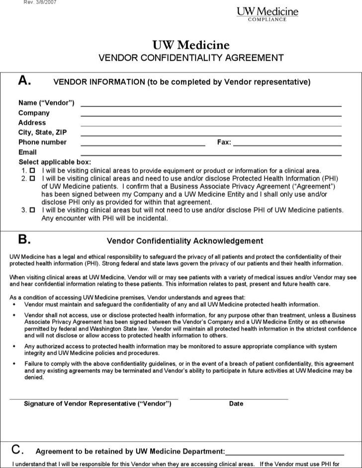 Vendor Confidentiality Agreement Template