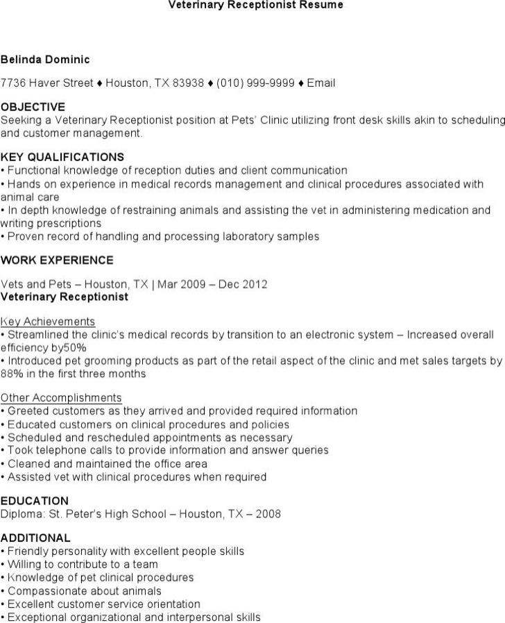 Veterinary Receptionist Resume