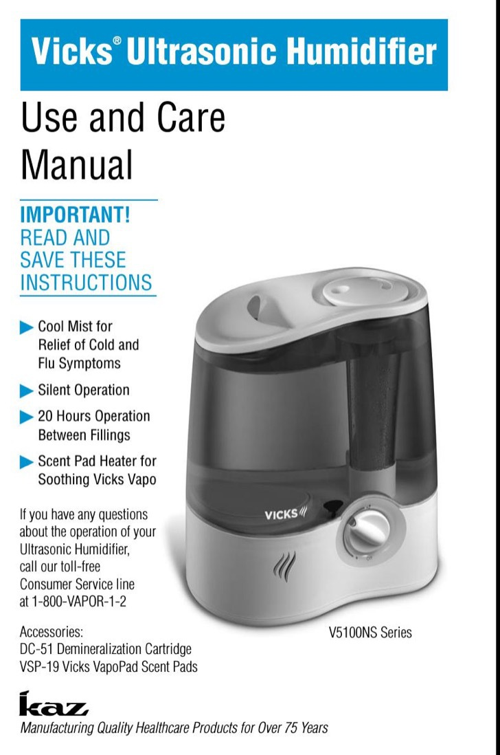 Vicks Owners Manual Sample