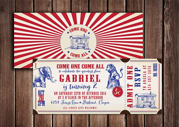 Vintage Style Circus Ticket Design