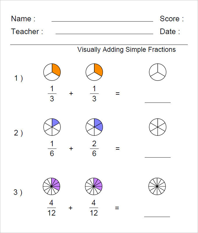 Visually Adding Fractions Worksheet Template