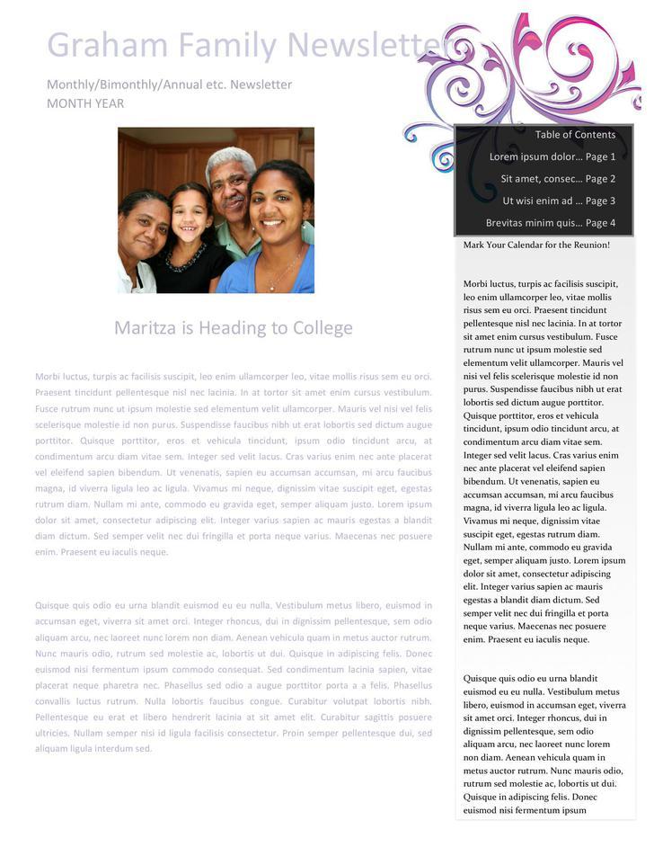 Vivid Blue Family Newsletter Word