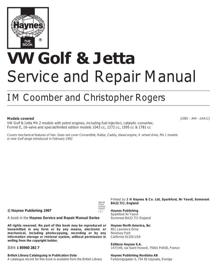 Volkswagen Service Manual Sample