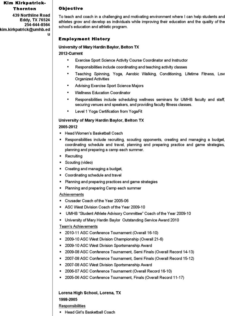 Volleyball Coach Resume