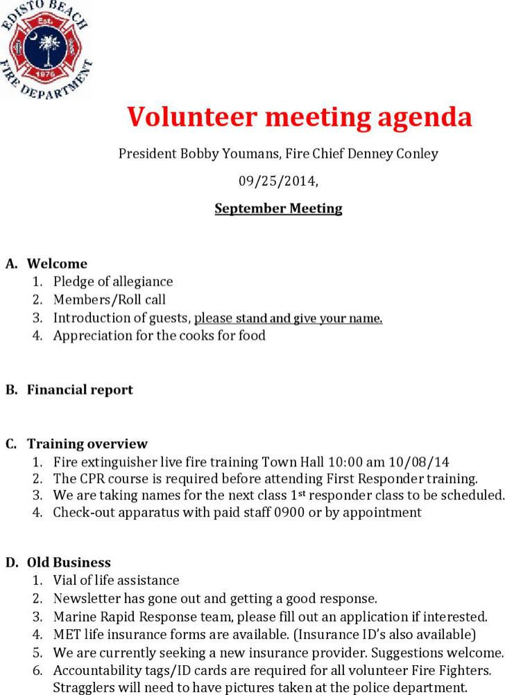 Volunteer Microsoft Meeting Agenda Template