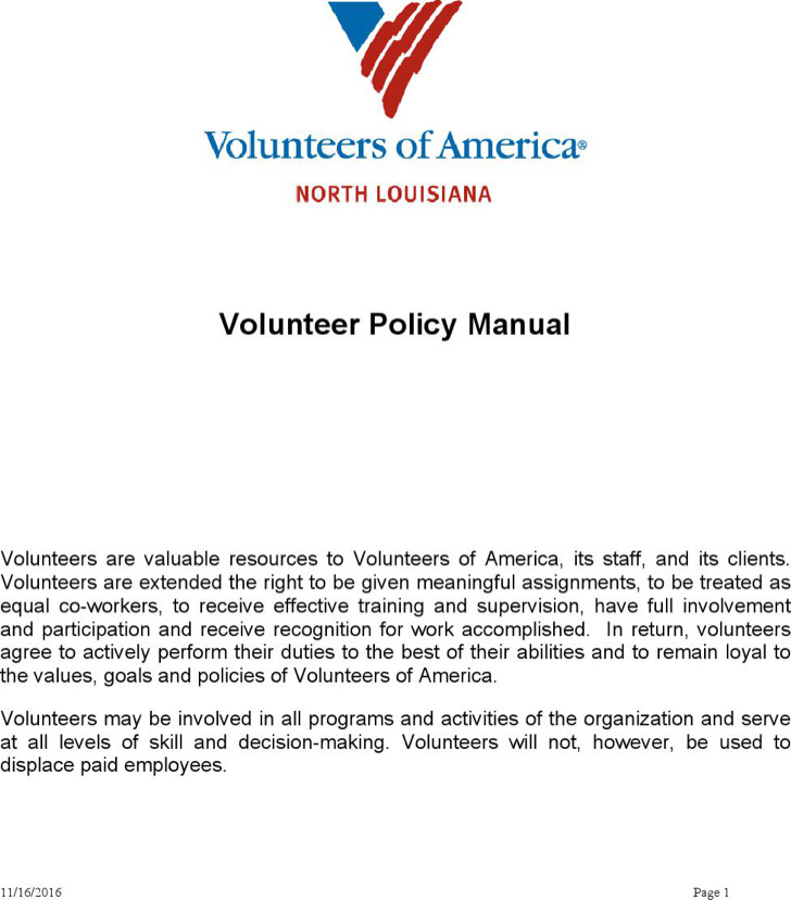 Volunteer Policy Manual Template Word