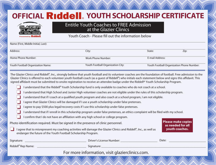 Volunteer Scholarship Certificate