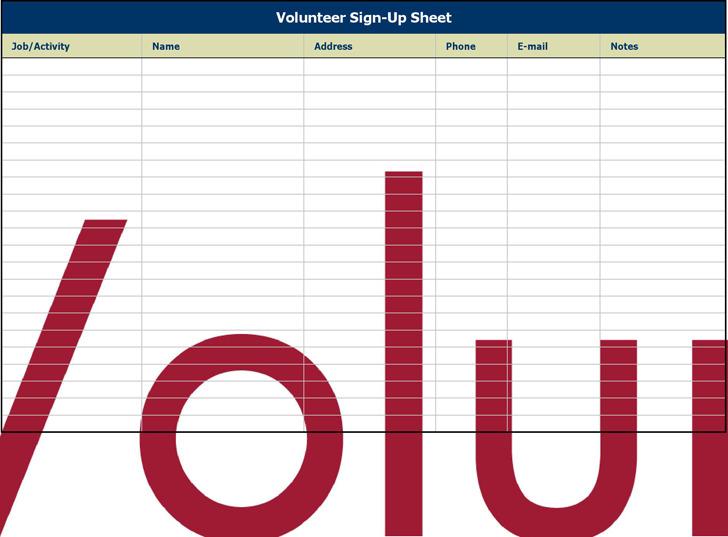Volunteer Sign up Sheet Template Free