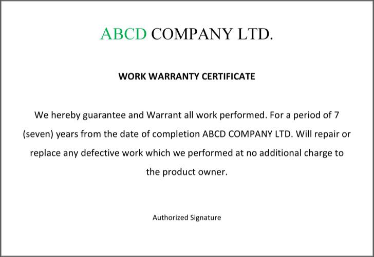 Warranty Certificate Format