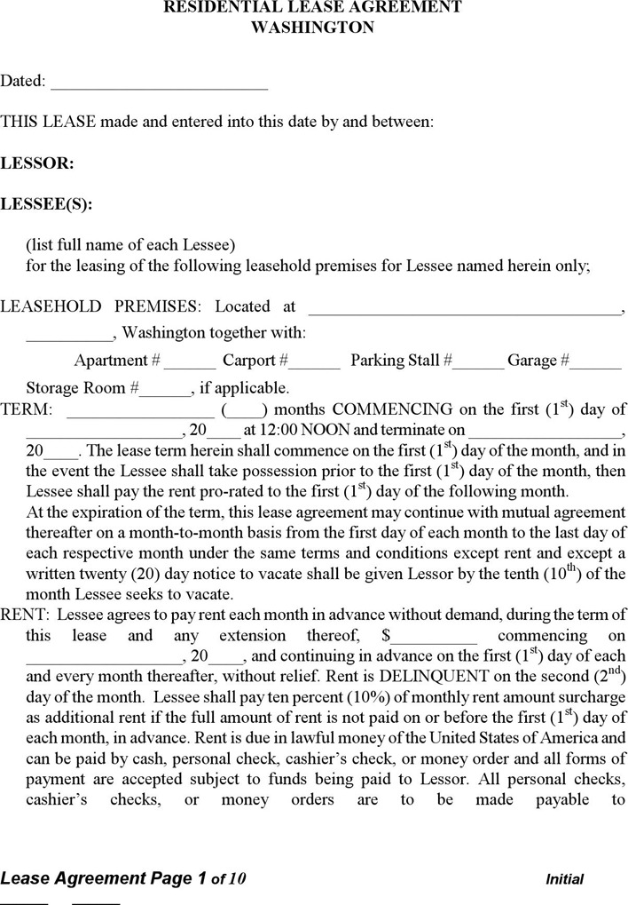 Download Washington Rent And Lease Template For Free Tidytemplates