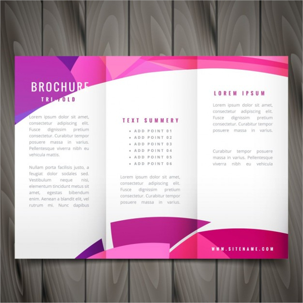 Wavy TriFold Brochure Template in Pink Color