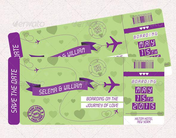 Wedding Boarding Pass Invitation Vector EPS - $5