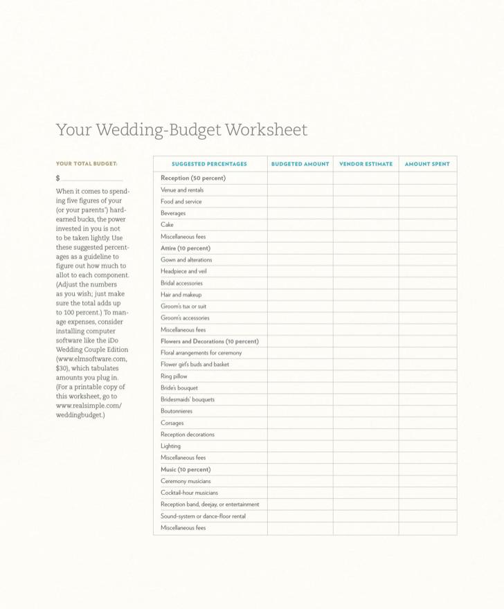 Wedding Budget Spreadsheet Template