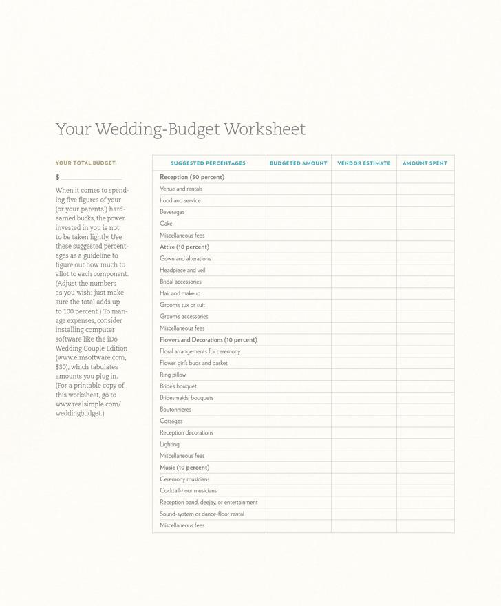 Wedding-budget Worksheet