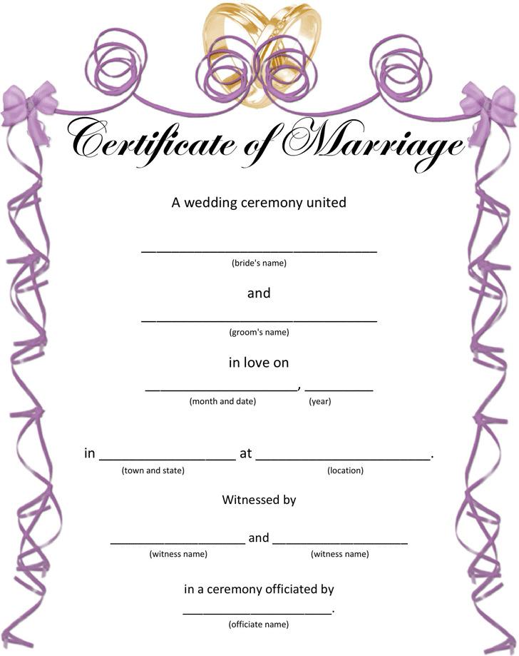 Wedding Certificates for Fun