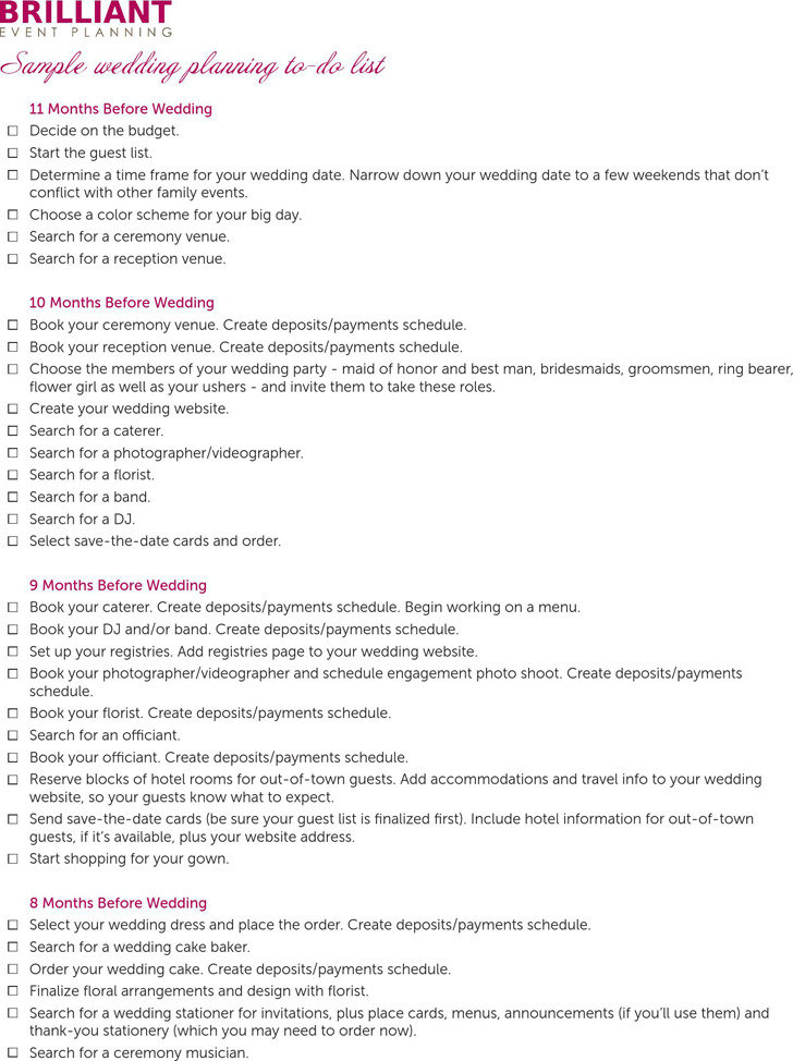 Wedding Checklist Sample