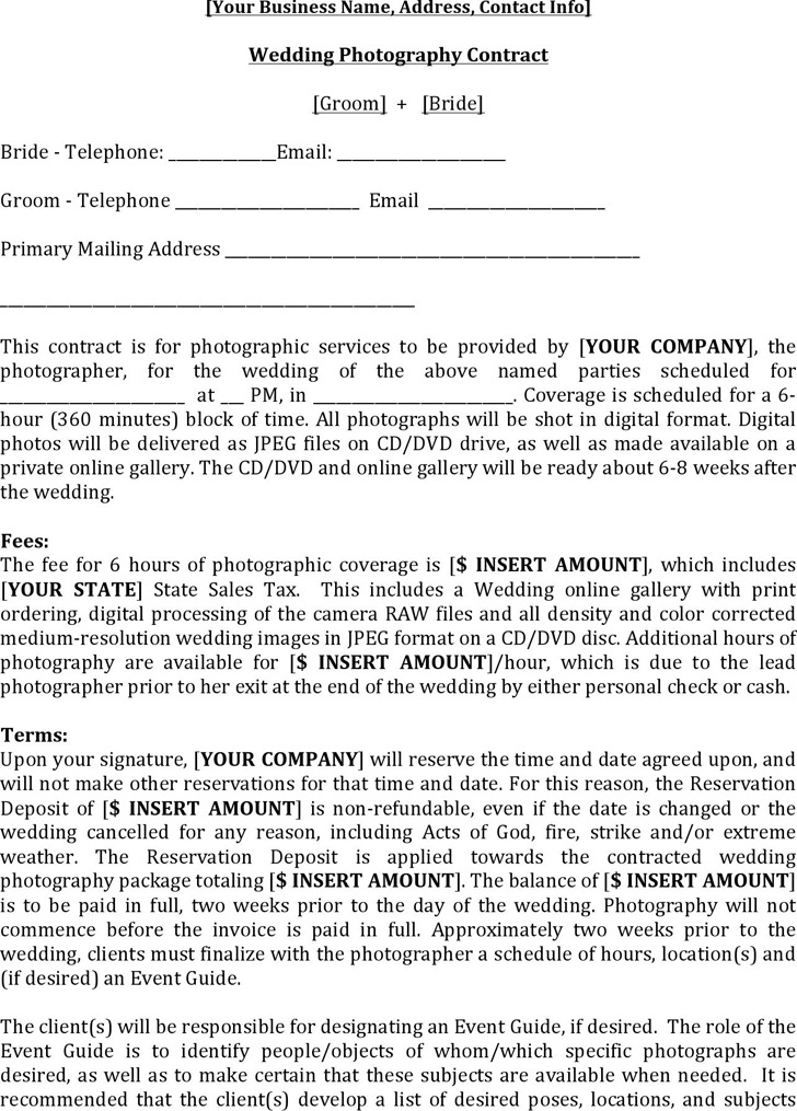 3 Photography Contract Template Free Download