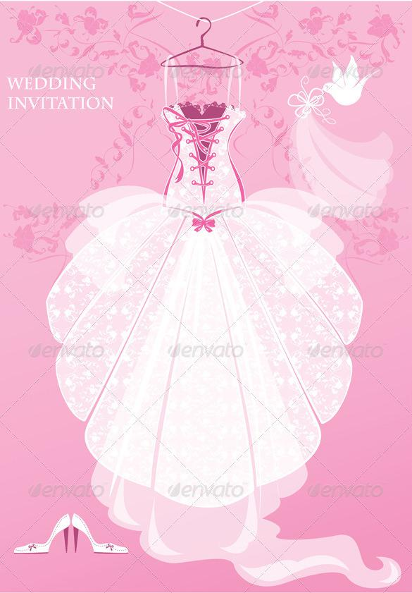 Wedding Dress Invitation Template Pink Background PSD