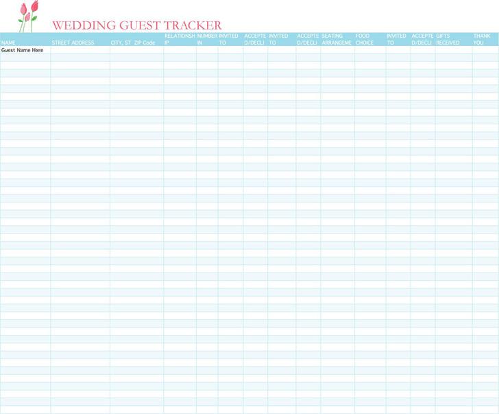 Wedding Guest List Template 1