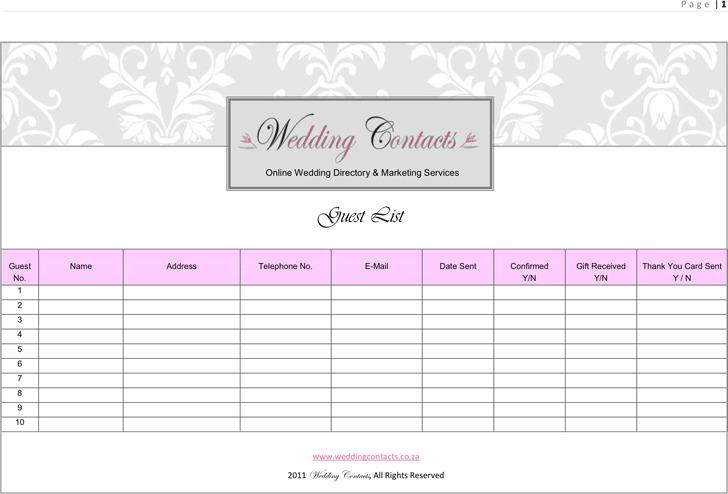 Wedding Guest List Template 2