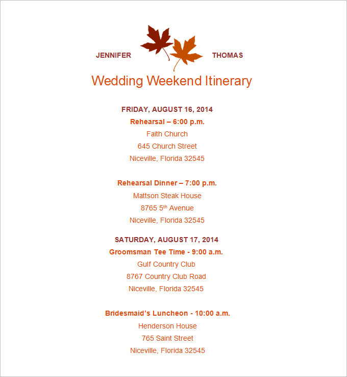 Wedding Itinerary Template Free Download