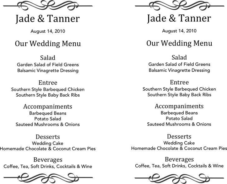 Wedding Menu Template 2