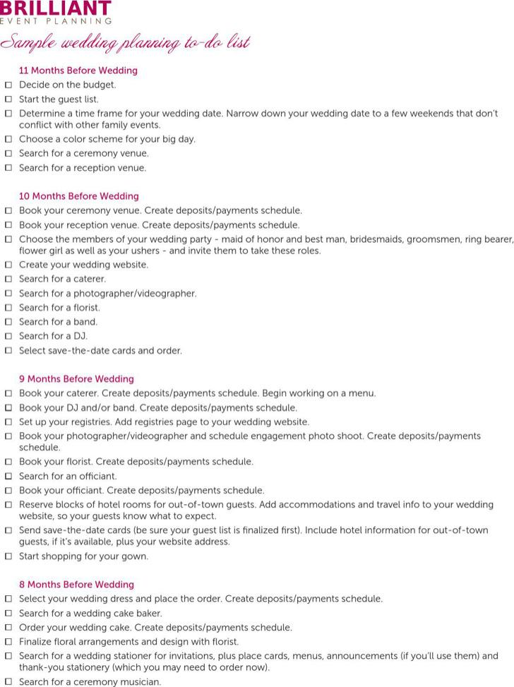 Wedding Planning Agenda Template