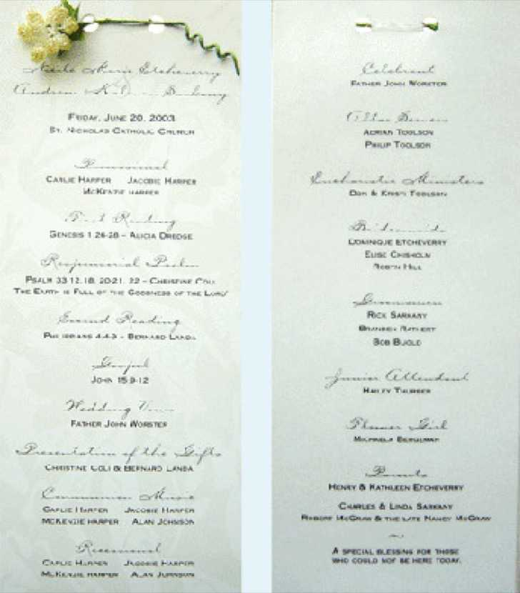 Wedding Program Samples