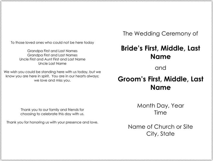 download wedding program templates for free tidytemplates