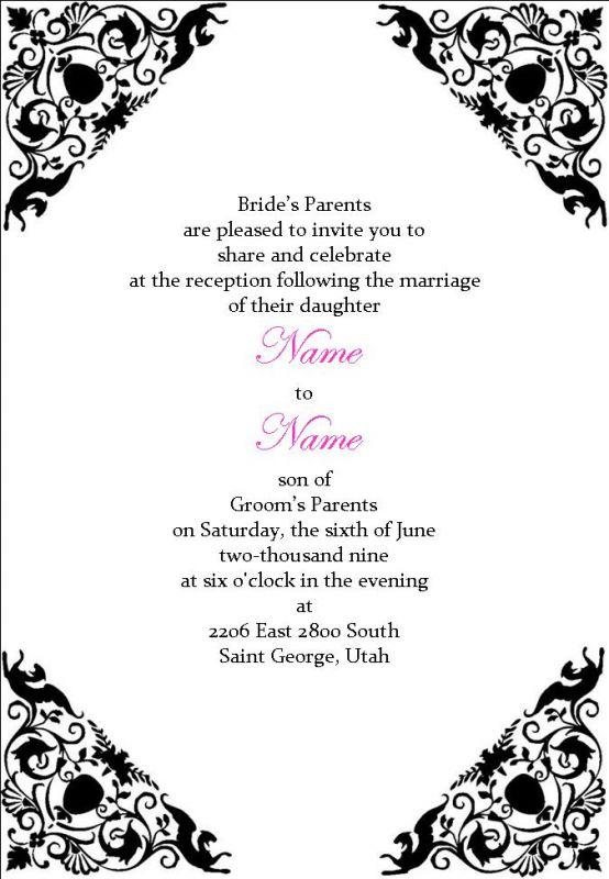 Wedding Reception Comment Card in Black