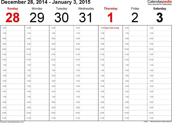 Weekly Calendar 2015 Landscape Time Management