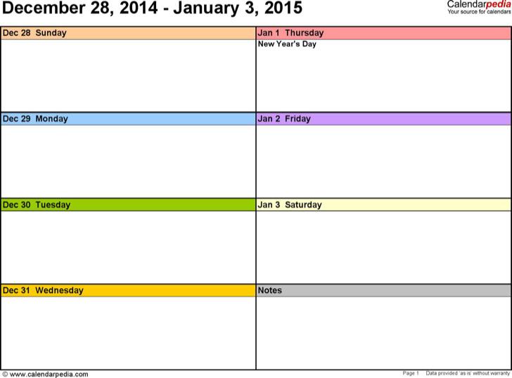 Weekly Calendar 2015 Landscape