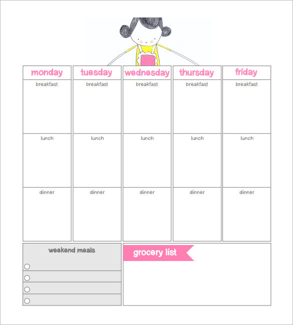 Weekly Meal Dinner Schedule Template Download