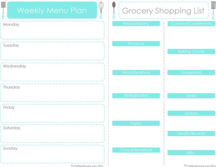 Weekly Menu Plan 1
