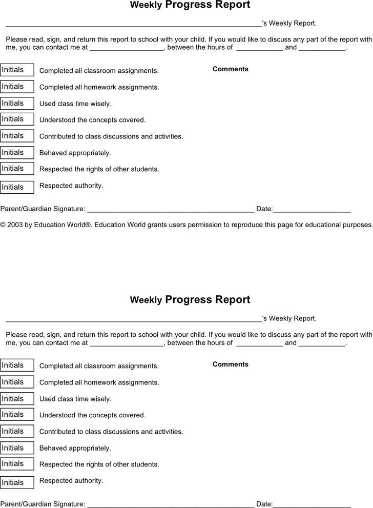 Weekly Progress Report Template 1