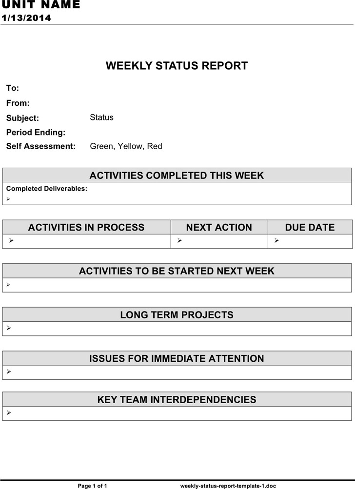 Weekly Status Report Template 1