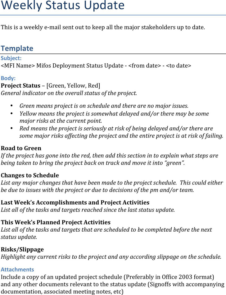 Weekly Status Report Template 2