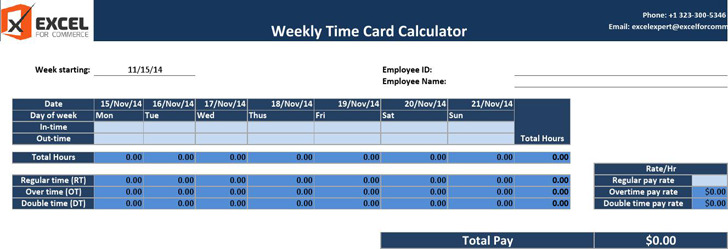 Weekly Time Card Calculator