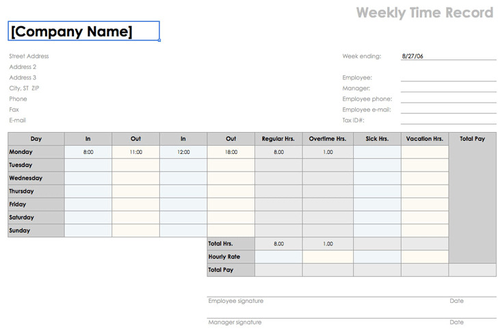 Weekly Time Sheet (8 1/2 X 11, Landscape)