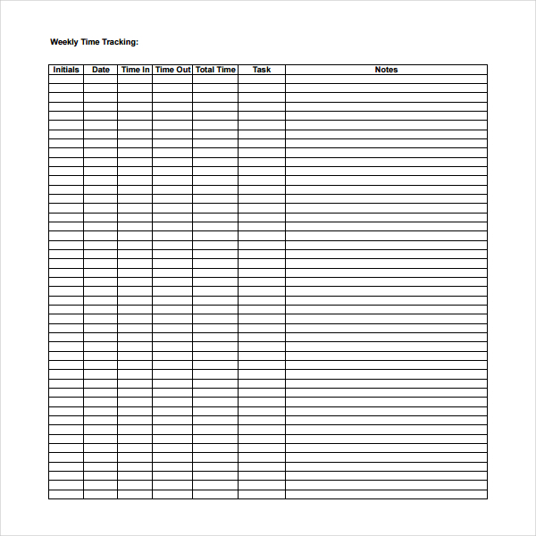 Weekly Time Tracking Template Download in PDF