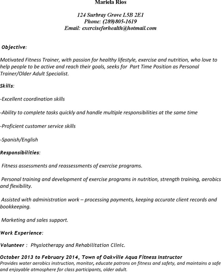 Weight Loss Personal Trainer Resume