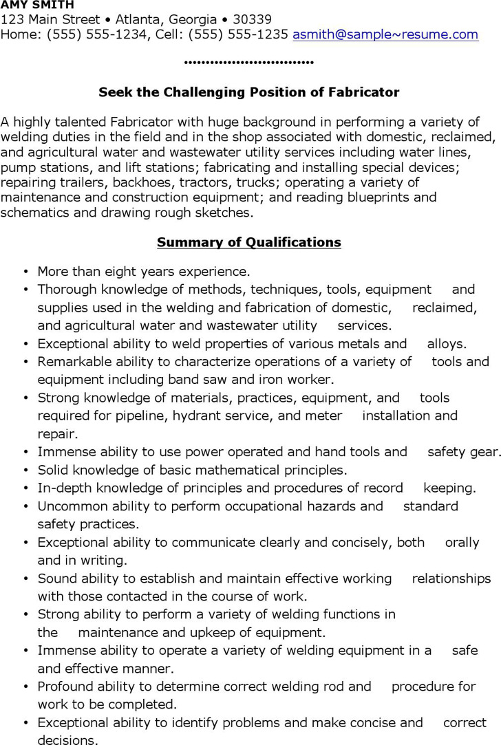 Welder Fabricator Resume