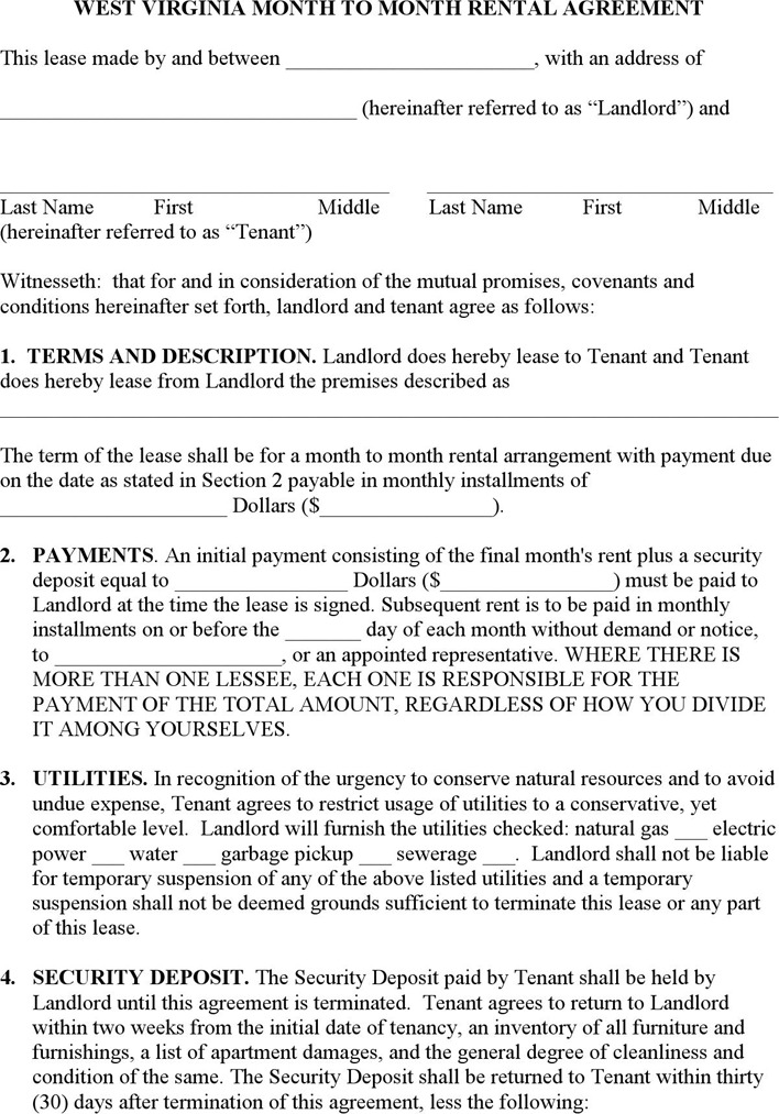 Download West Virginia Rent And Lease Template For Free Tidytemplates