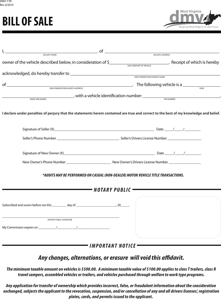 2 West Virginia Bill Of Sale Form Free Download