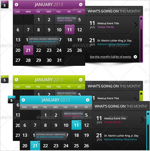 Widget Event Calendar Template