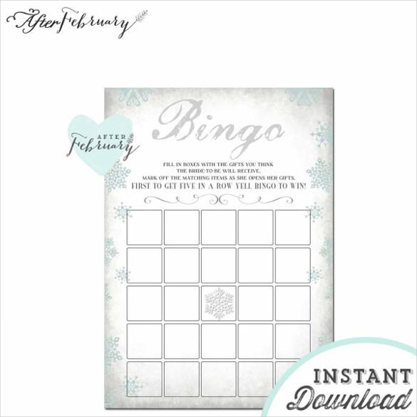 Winter Gray Snowflake Blank Bingo Card
