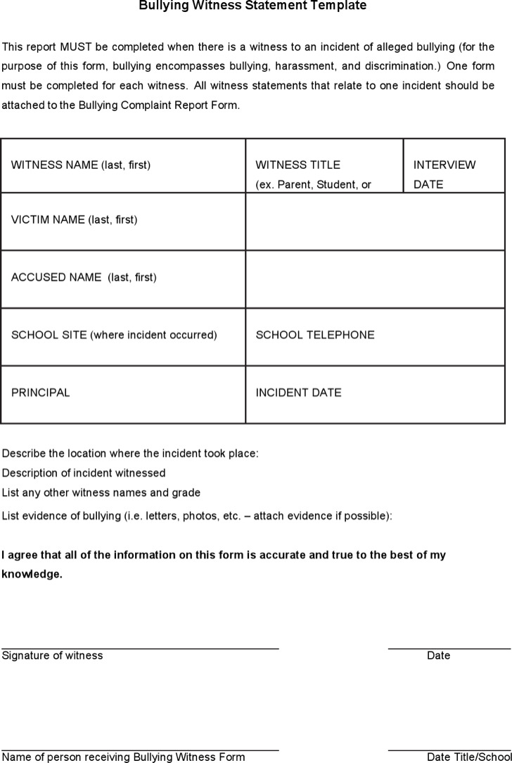 Witness Statement Template Download