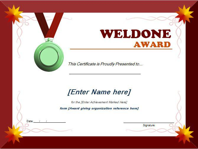 Word Document Appreciation Certificate Template